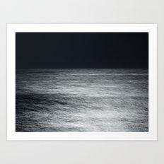 Moonlit Sea with Horizon -- Monochrome Art Print