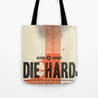 die hard Tote Bags featuring Die Hard (Full poster variant) by Wharton
