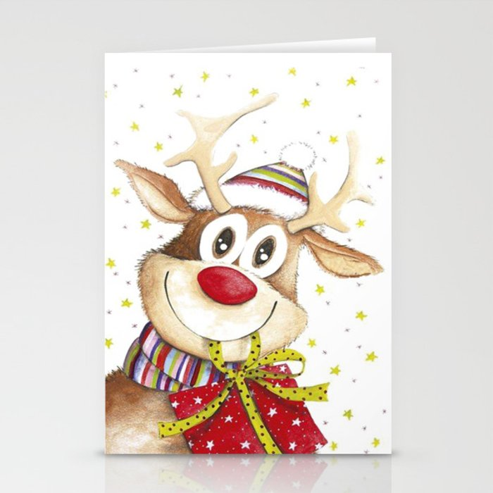 Funny Christmas Deer Red Nose Stars Stationery Cards