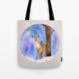 Deer in Forest Winter Painting Tote Bag
