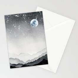 Night lanscape watercolor Stationery Cards