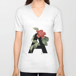 Floral Alphabet Prints: Letter A Unisex V-Neck
