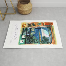 1962 Picasso COTE D'AZURE French Riviera Travel Poster Rug