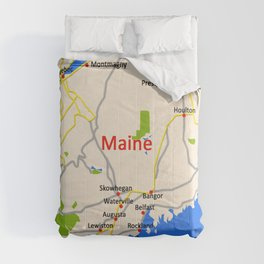 Map of Maine state, USA Comforters