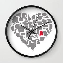States of Love...Alabama Wall Clock