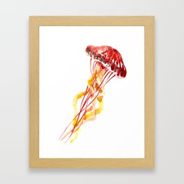 Jellyfish, Red, orange, Yellow design Framed Art Print