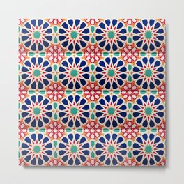 -A21- Traditional Colored Moroccan Mandala Artwork. Metal Print