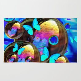 SURREAL NEON BLUE BUTTERFLIES IRIDESCENT SOAP BUBBLES PEACOCK EYES Rug
