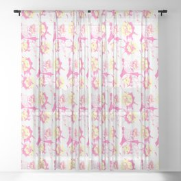 Wild Zinnias Sheer Curtain