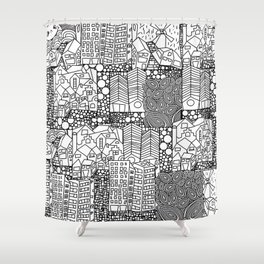 Doodle and the city Shower Curtain