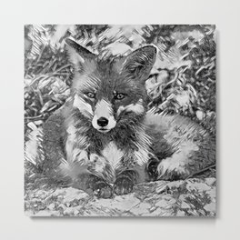 AnimalArtBW_Fox_20170901_by_JAMColorsSpecial Metal Print