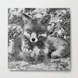 AnimalArtBW_Fox_20170901_by_JAMColorsSpecial Metal Print