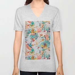 Colorful, Vibrant Paradise Birds and Leaves Unisex V-Neck