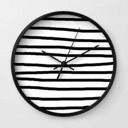 Simply Drawn Stripes in Midnight Black Wall Clock