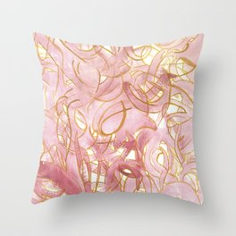 Outlined Scribbles - Pink and Gold Throw Pillow