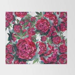 Watercolor Peony Pattern Throw Blanket