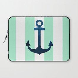 Anchor on Mint Stripes Laptop Sleeve