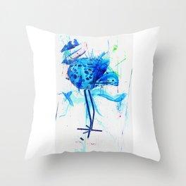 Turquoise heron watercolor Throw Pillow