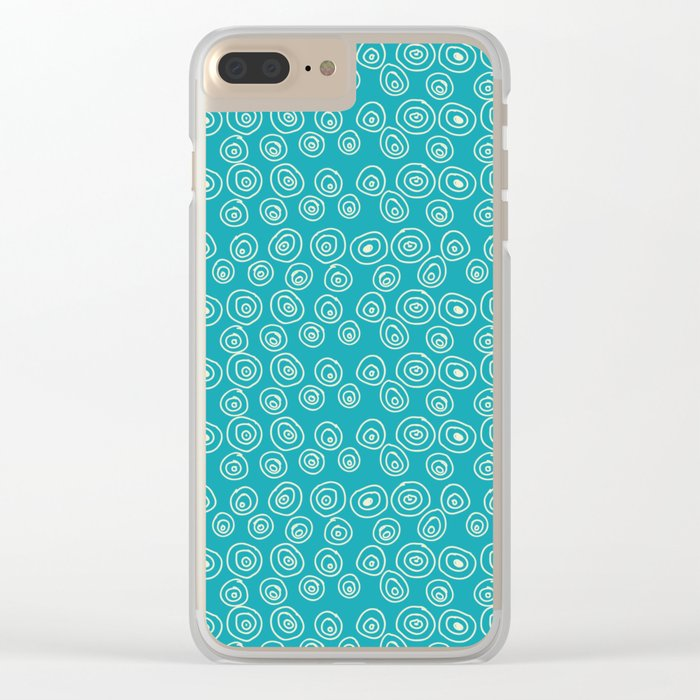 Blue Scribbles Pattern 01 Clear iPhone Case