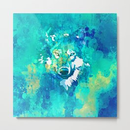 Teal yellow hand painted watercolor wolf Metal Print