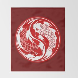 Red and White Yin Yang Koi Fish Throw Blanket