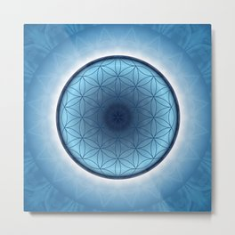 Flower of Life blue 2 Metal Print