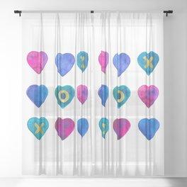 Tic Tac Toe hearts Sheer Curtain