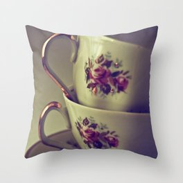 Granny's Tea Cups Throw Pillow