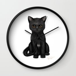 Sweet Black Kitty Cat with Bright Golden Eyes  Wall Clock