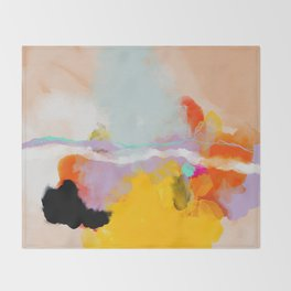 yellow blush abstract Throw Blanket