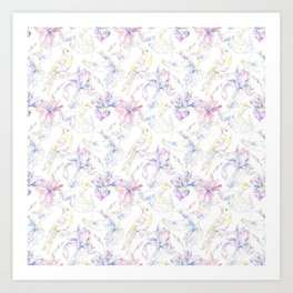 Canaries Birds Flowers White Background Pattern Art Print