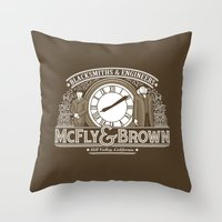 mcfly Throw Pillows featuring McFly & Brown Blacksmiths by Doodle Dojo
