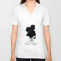 pride and prejudice V-neck T-shirts featuring Pride and Prejudice by Clarc
