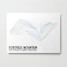 Fortress Mountain, Alberta, Canada - Minimalist Trail Art Metal Print