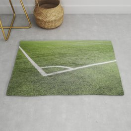 Corner football field, Corner chalk mark artificial grass soccer field Rug