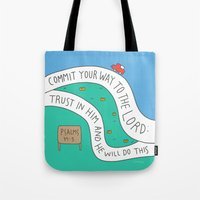 bible Tote Bags featuring bible message by ssongso