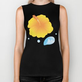 Hibiscus and Thunderhead reflected in a Drop of water_Y Biker Tank