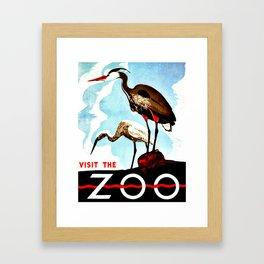 Visit the Zoo, herons Framed Art Print