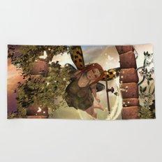 Totally in love, cute fairy Beach Towel