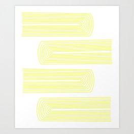 Minimalist, line art pattern, scandivian, modern minimal, sunny yellow Art Print