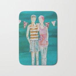 Swimmer art, beach painting, couple art, teal and pink art Bath Mat