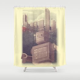 A City Snow-Bot Shower Curtain