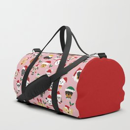 Christmas Dog Pattern Illustration Duffle Bag