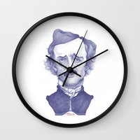 edgar allan poe Wall Clocks featuring Edgar Allan Poe illustration by Stavros Damos