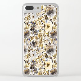 Gold and Grey Fall Feels Floral Clear iPhone Case