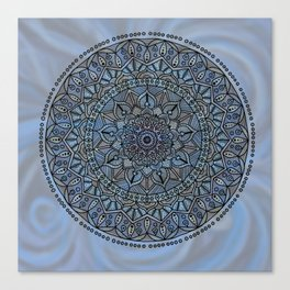 Circle of Life Mandala full color on blue swirl Canvas Print