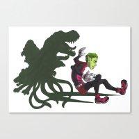 teen titans Canvas Prints featuring Teen Titans: Beast Boy by JaDis
