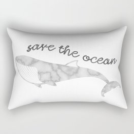Save The Ocean - Marble Whale Rectangular Pillow