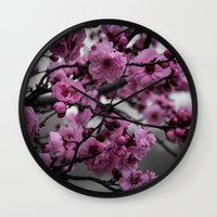 cherry blossom Wall Clocks featuring Cherry Blossom by Michelle McConnell