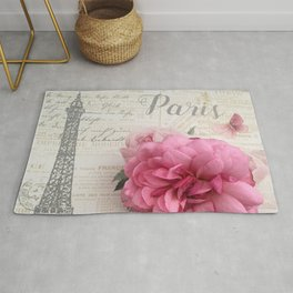 Paris Pink Rose Eiffel Tower Typography Shabby Chic Cottage Decor Rug
